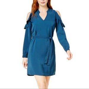 Cold shoulder long flounce sleeve dress